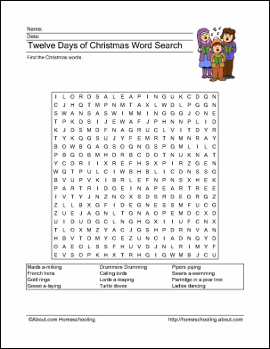 Twelve Days of Christmas Printables - Wordsearch & More