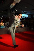Van Damme showing off his patented high kick.