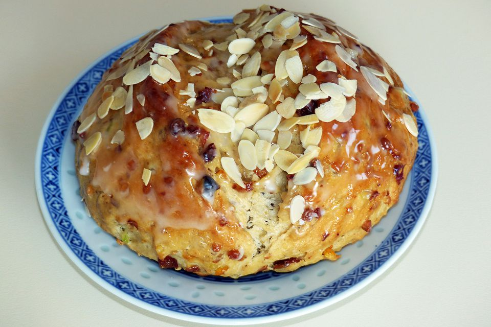 Easter Bread - Osterbrot Glazed with Milk and Sprinkled with Sugar