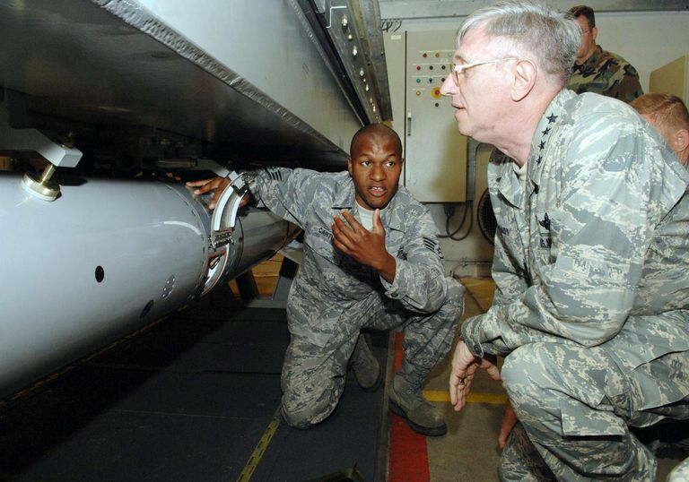 "General Roger Brady, USAFE Commander, is shown B61 nuclear weapon disarming procedures on a ""dummy"" (inert training version) in an underground Weapons Security and Storage System (WS3) vault at Volkel Air Base, The Netherlands, on June 11, 2008."