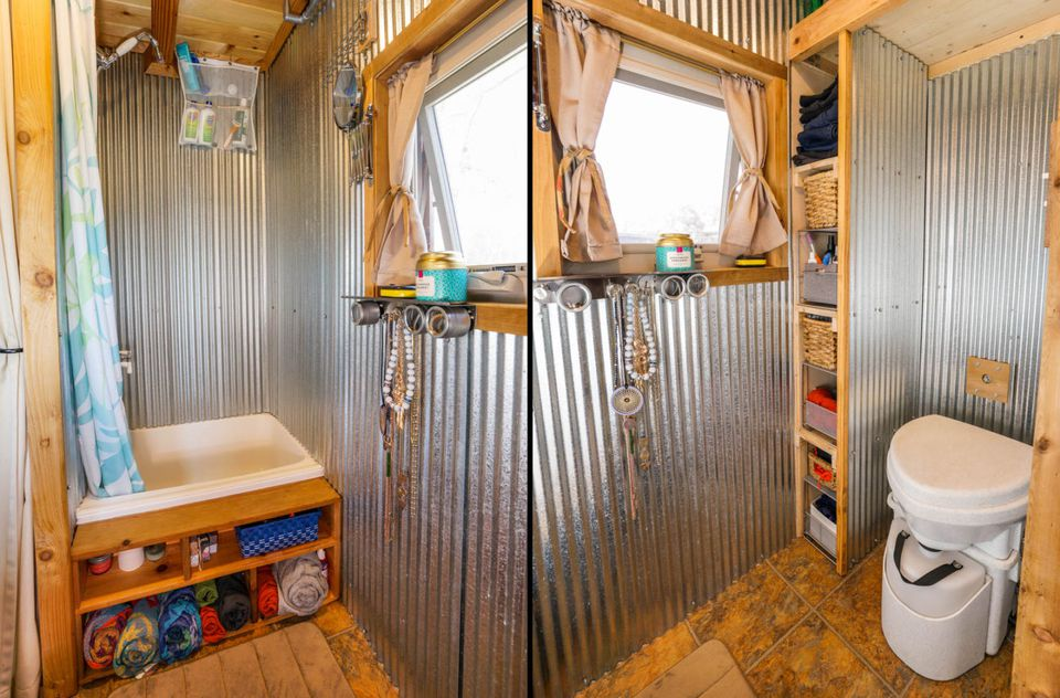 Galvanized walls tiny house bathroom