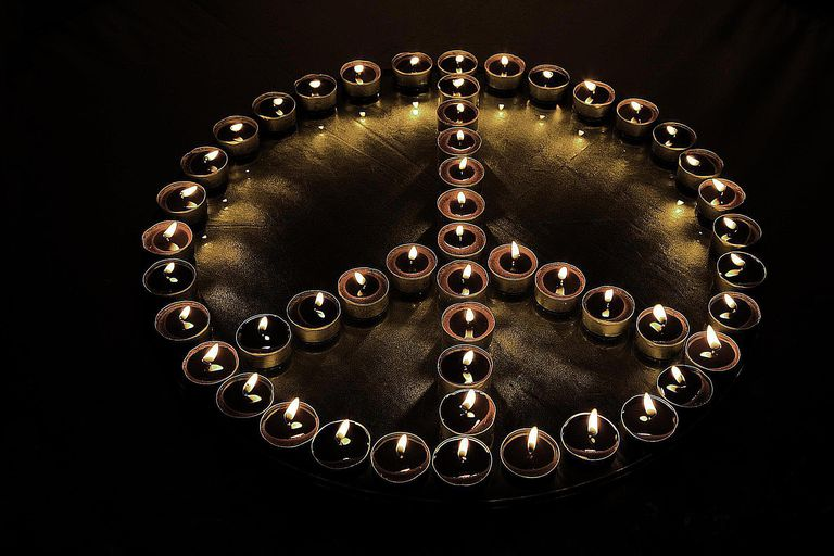 Candles in a peace sign