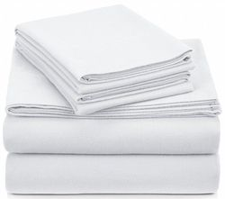 Pinzon 190 Gram Heavyweight Velvet Flannel Sheet Set - Queen, White