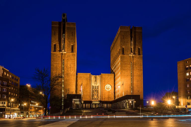 Oslo City Hall, Evening, Lighted Towers