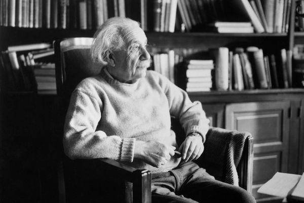 Scientist Albert Einstein in Library