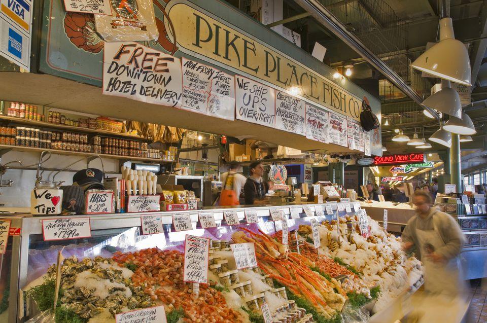 Fresh fish row on Pike Place market stall, Seattle, Washington, USA