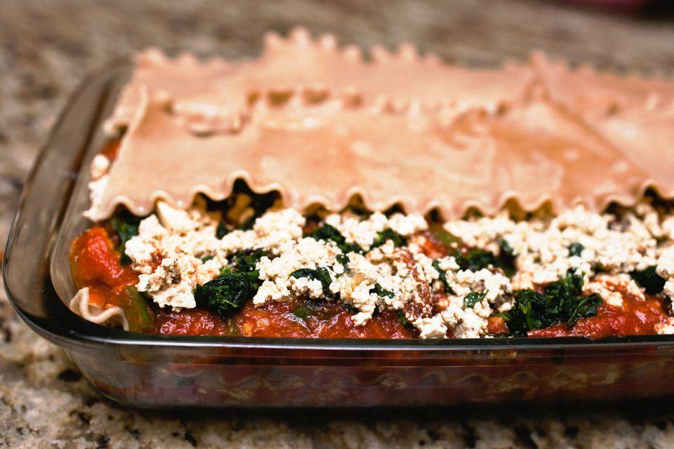 Vegan lasagna with tofu ricotta cheese substitute