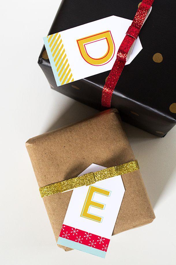 DIY Printable Monogram Holiday Tags