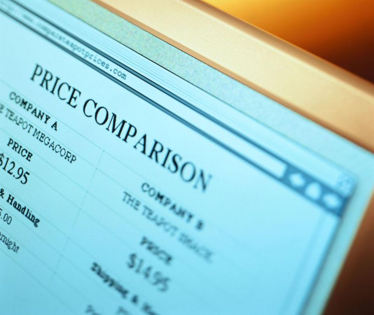 A computer screen showing online price comparison