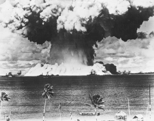 American nuke test sends up a mushroom cloud over the Bikini Atoll, 1946