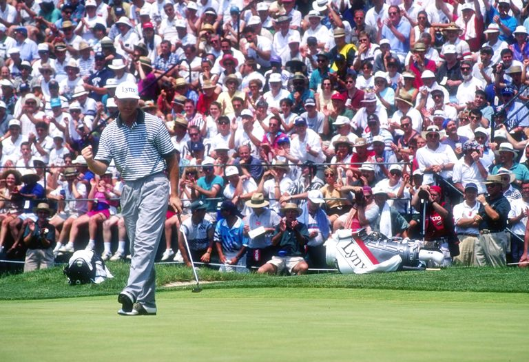 Ernie Els celebrates making a putt during the 1994 US Open