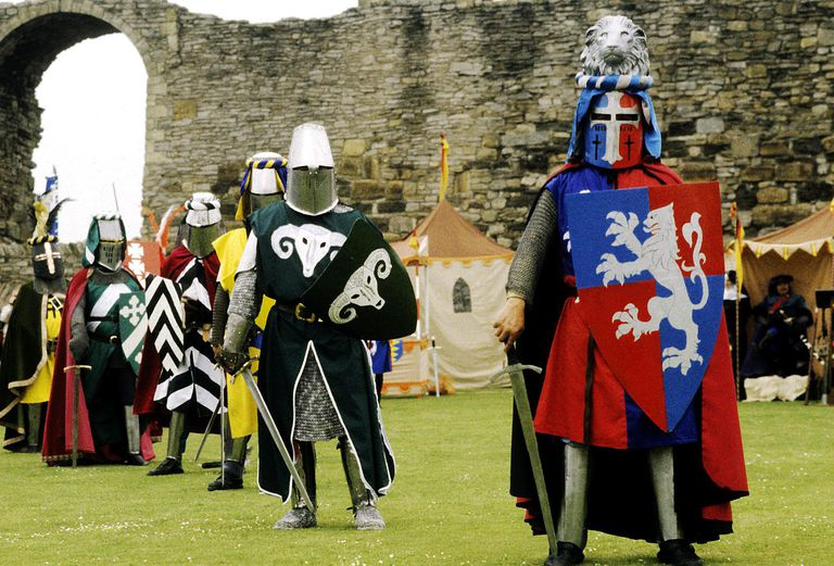 Re enactment, Medieval Knights, shields, swords