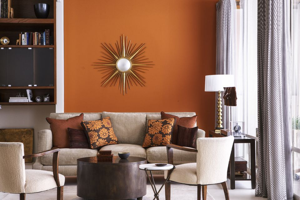 Living room with orange wall