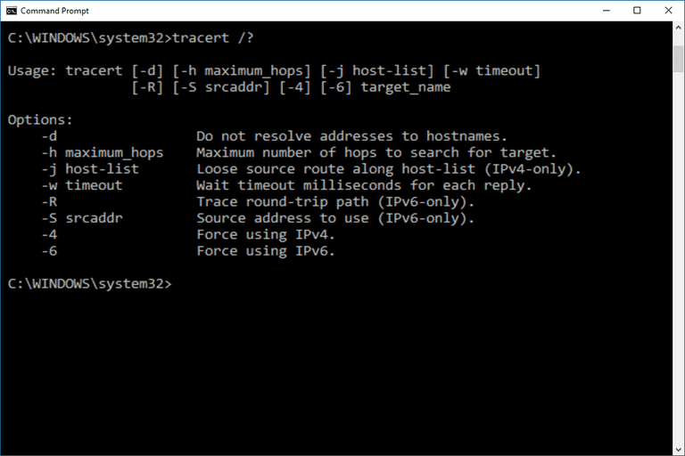 Screenshot of the tracert command in Windows 10