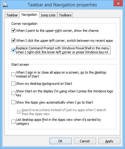 Screenshot of the PowerShell WIN+X Replacement Option in Windows 8
