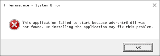 Advrcntr6.dll Error Message