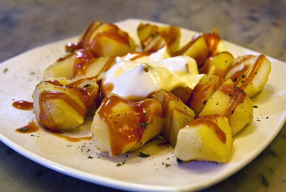 Spanish Patatas bravas recipe. Get the recipe for traditional Spanish patatas bravas.