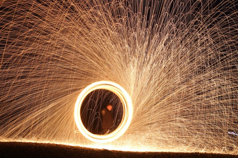 Spinning Steel Wool Sparkler
