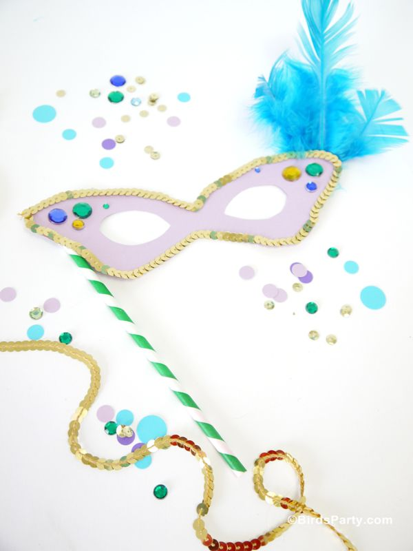 19 free mardi gras mask templates for kids and adults free printable mask template from birds party a decorated mardi gras mask laying on a table pronofoot35fo Images