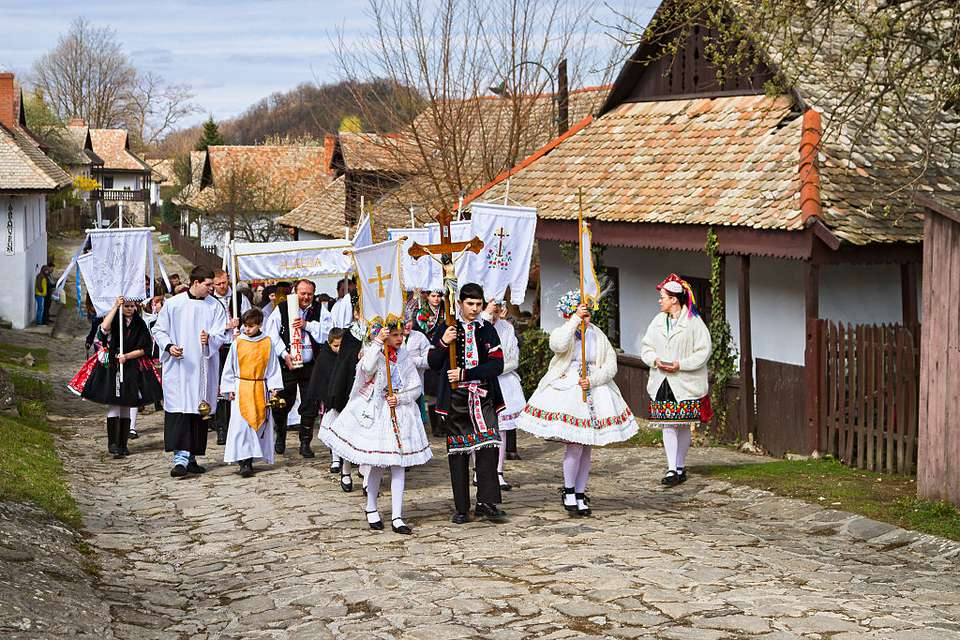Easter procesion in traditional Easter folk customs in Holloko, Hungary