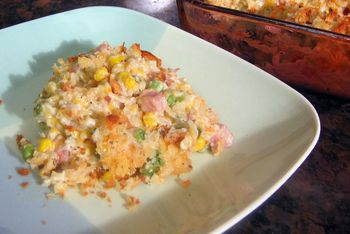 Easy Leftover Ham And Rice Bake With Buttered Bread Crumbs