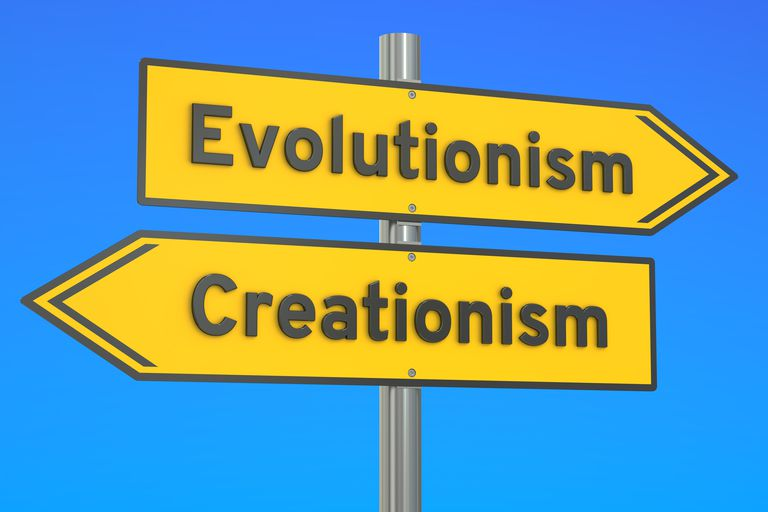 evolutionism vs creationism concept on the signpost, 3D renderin