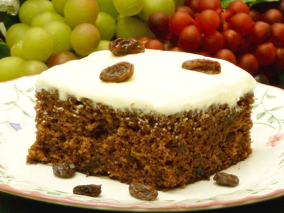 applesauce cake recipe, raisins, cream cheese frosting, dessert, receipts