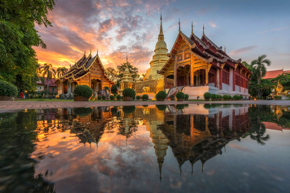 A temple at sunset in Chiang Mai, Thailand