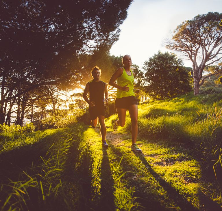 Young couple jogging in the early morning