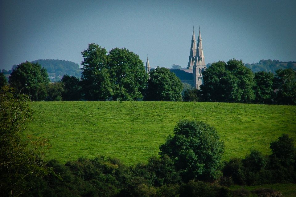 Armagh Cathedral as seen from the top of Navan Fort (Emain Macha) - a hint at an ancient ley? Maybe just coincidence, and a nice view