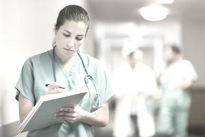 A nurse in a hospital hallway