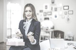 Woman checking a gift card balance