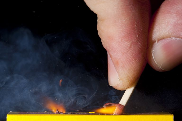 When you strike a match, the white cloud that is produced is smoke and phosphorus pentoxide.