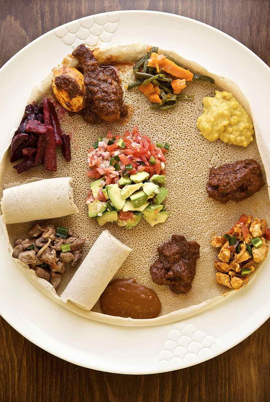 Somali food sampler on somali bread, close-up