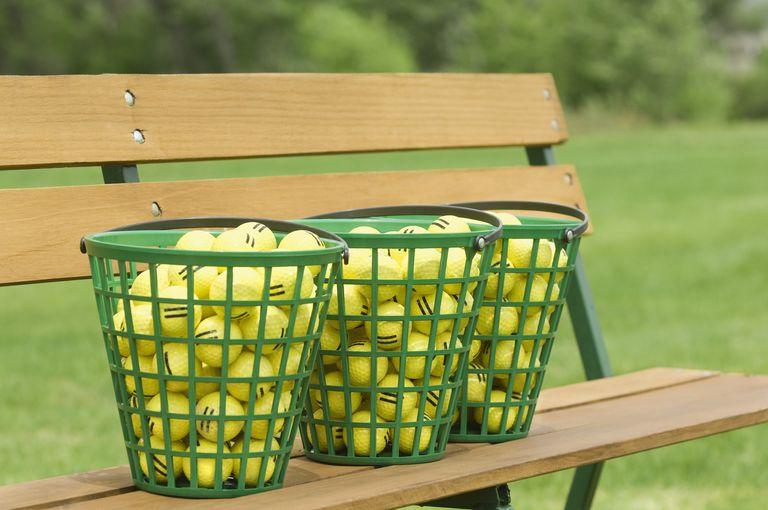 buckets of golf driving range balls