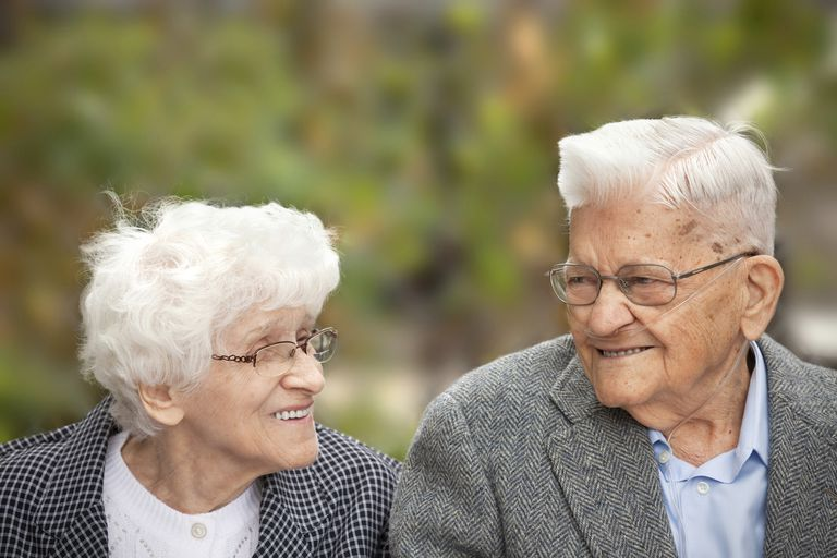 Senior Couple Enjoying A Laugh Together Outdoors