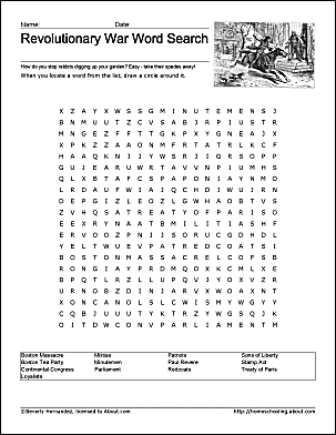 American revolutionary war worksheets pdf