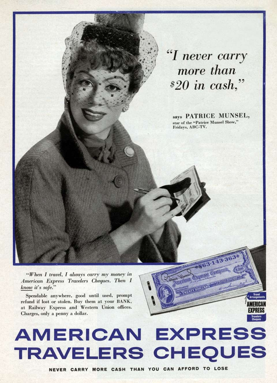 American advertisement for American Express Travelers cheques 1958