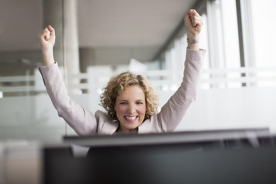 A picture of a woman celebrating