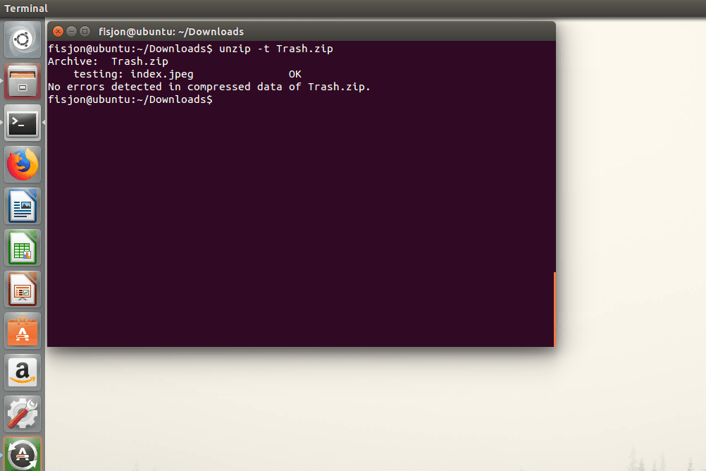 Screenshot showing how to use the -t switch in Ubuntu to test a ZIP file