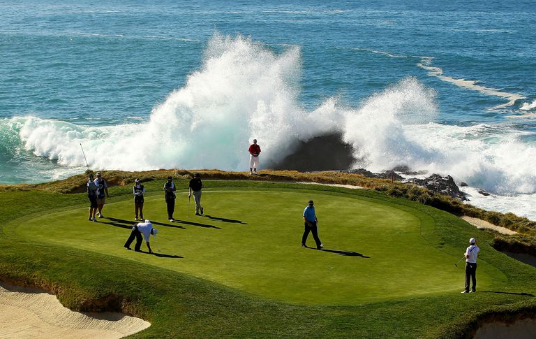 the seventh green during the first round of the AT&T Pebble Beach National Pro-Am at Pebble Beach Golf Links on February 9, 2012