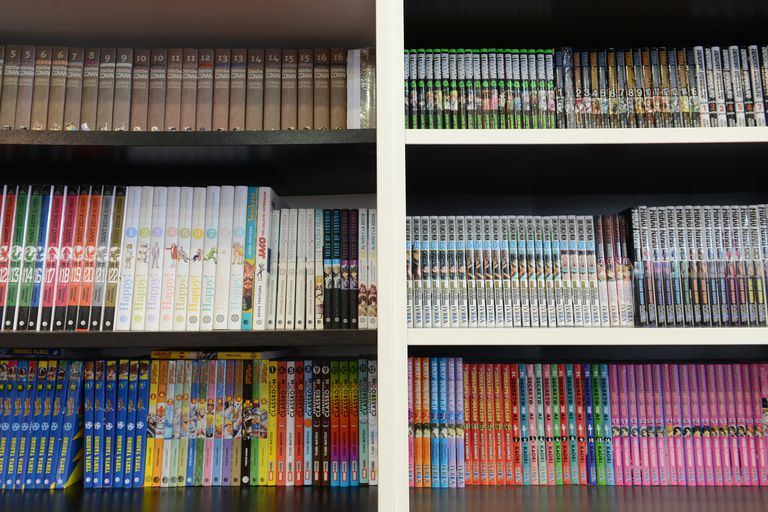 Shelves filled with manga comic books