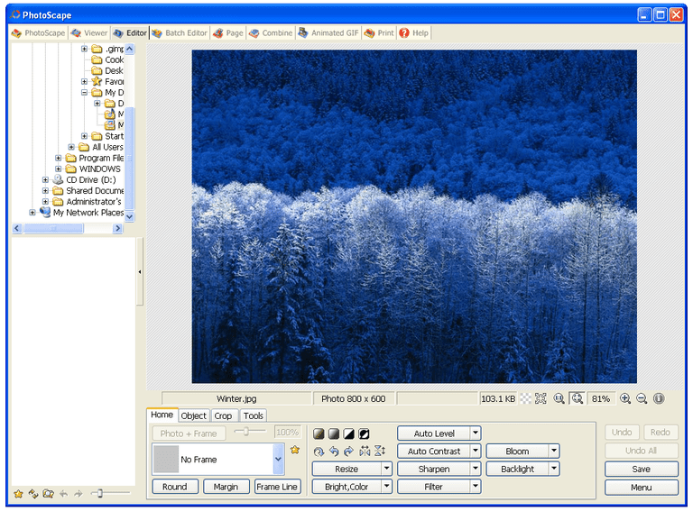 Screenshot of PhotoScape in Windows XP