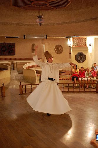 This Sufi man is dancing in Cappadocia, Turkey, 2008.