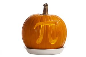 A pumpkin with the Pi sign carved into it.