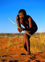 San Hunter on cell phone. Calling Africa