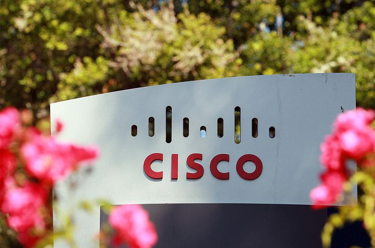 A sign is posted in front of the Cisco Systems headquarters on August 10, 2011 in San Jose, California.