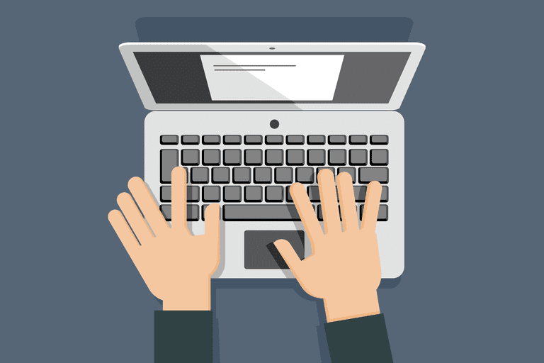 illustration of hands typing on keyboard