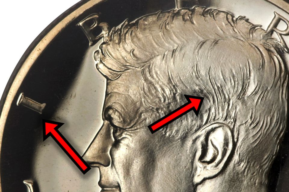 In 1964 Proof Kennedy Half-Dollar Accented Hair Variety