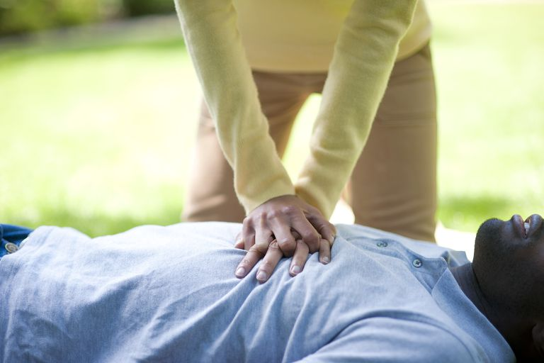 woman performing cpr on a man